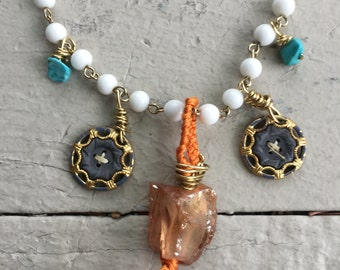 Bohemian quartz raw gem necklace