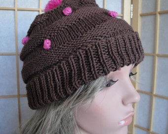 woman knit hat, brown and pink cap, knitted pompom beanie, silk and cotton cap, winter cotton beanie, brown beehive hat, slouchy beanie hat