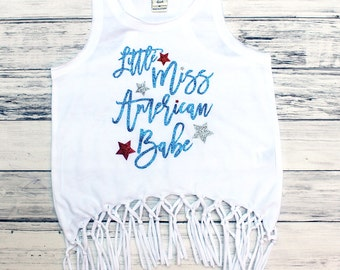 Little Miss American Babe - Glitter Tank Top - Fringe Tank Top - Toddler Girl - Youth Girl - Fourth of July - Patriotic - Miss America