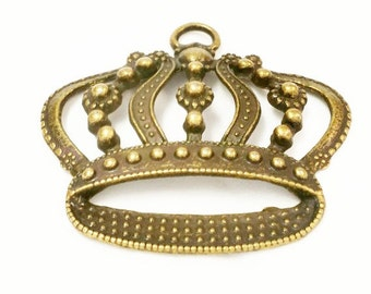 5 Large Crown Pendants, Princess Crown Charms, Antique Bronze Crown Tone Pendant, Jewelry Making Supplies, Keychain Charms, C25