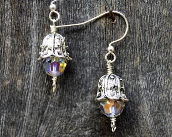 Crystal and Silver Earrings, Flower Bud Earrings, Crystal Earrings, Bud Earrings, Flower Earrings, Swarovski Crystal Earrings