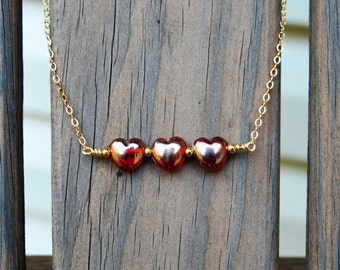 Red Glass Heart Bar Necklace, Red Glass Necklace, Red Bar Necklace, Bar Necklace, Red Necklace, Valentine's Gift, Heart Necklace