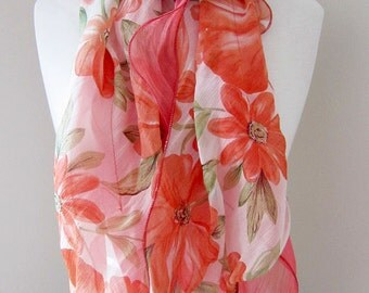 Fancy scarves, Orange floral ruffled double layered polyester long lightweight scarf for spring and summer - Peach, Coral