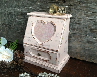 Pink Shabby Jewelry Box, Rustic Chic Small Mirrored Jewelry Armoire, Painted Upcycled Wood Ring Box With Heart, Bridesmaid Gift For Her