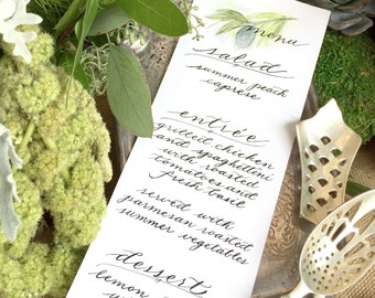 Custom Watercolor Menus with Calligraphy