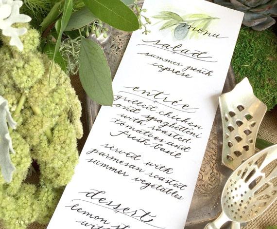 Menus with Custom Calligraphy and Hand-Painted Flourishes | Wedding Rehearsal Dinner Menu | Bridal Shower Menu