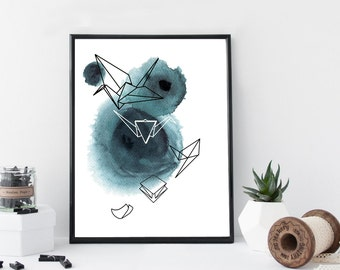 Watercolor geometric origami art print, minimal simple home decor, apartment wall art, scandinavian decor, poster,origami illustration, gift