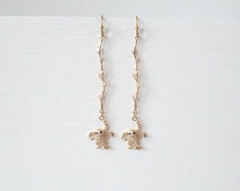 Whimsical  Dangle Earrings Gold And Pave CZ Chimpanzees Hanging From Gold Vermeil Branch
