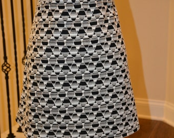 Midi Black and White Diamond Skirt
