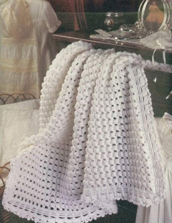 Crochet Baby Blanket Patterns Worsted Weight Yarn : Instant PDF Download Vintage Crochet Pattern to make A Lacy