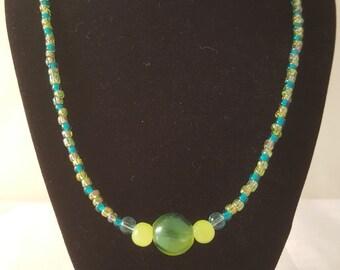 Blue & Yellow Necklace - Blue Necklace - Yellow Necklace - Glass Bead Necklace - Women's Necklace - Beaded Necklace - Women's Glass Necklace