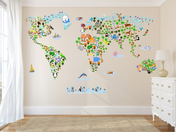 Cultural world map wall decal reusable vinyl fabric for Wall map for kids room