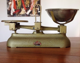 Vintage kitchen scales by Ajax, Australia - golden - shabby chic kitchenware - iron