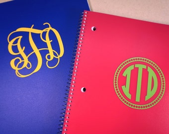 Monogrammed Notebook, Preppy School Supplies, Personalized Journal