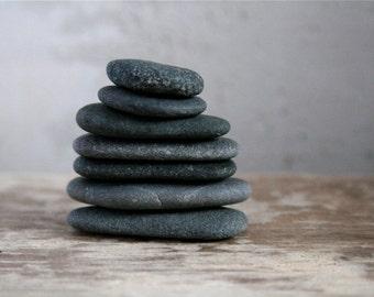 Zen Balancing Stones - Meditation - Cairn - Black Beach Stones