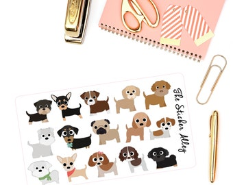 15 Cute Puppy/Dog Stickers (Perfect for Erin Condren Life Planners, Planning and Scrapbooking)