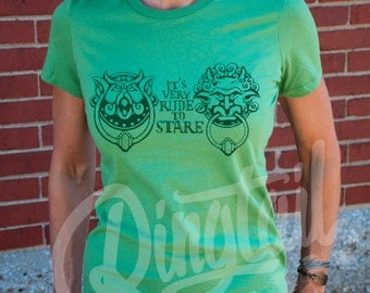 It's Very Rude to Stare. Women's Labyrinth door knocker t-shirt in Silver, Leaf Green, Ocean Blue, or Pebble Brown