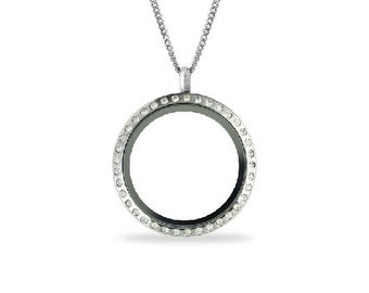 30mm Stainless Steel Twist Floating Locket W/Crystal Face Comes W/Sterling Silver Chain. ~Comes with 5 Floating Charms of Your Choice~