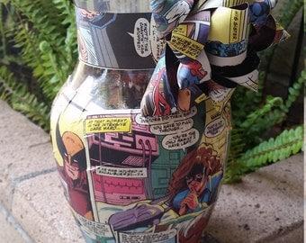 Excalibur comic book vase - kitty pryde vase - upcycled home decor - comic book decor - superhero decor -  x-men vase - marvel comics decor