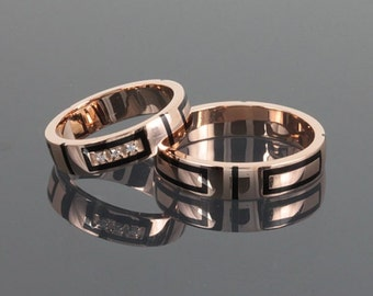 wedding ring set his and her fine wedding ring set rose gold band set - Simple Wedding Ring Sets