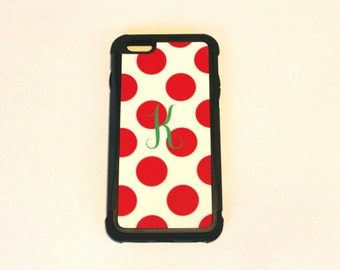 custom iphone cover, red polka dot phone case, personalized phone case, gift for her, iphone accesories, phone case, iphone5, iphone6+
