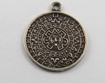 Aztec Mayan Sun Calendar Sterling Silver Charm or Pendant.