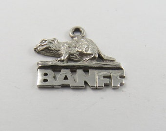 Banff Canada with Beaver Above Sterling Silver Charm or Pendant.