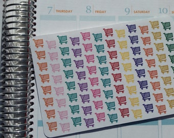 Shopping Cart Planner Stickers, Grocery Cart Stickers