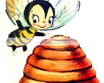 Cute Little Honey Bee and Beehive Vintage Art Image - Instant Art Printable Download - Altered Art Paper Crafts Scrapbook - Honeybee Beehive