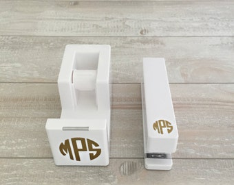 Monogrammed Tape Dispenser & Stapler Set