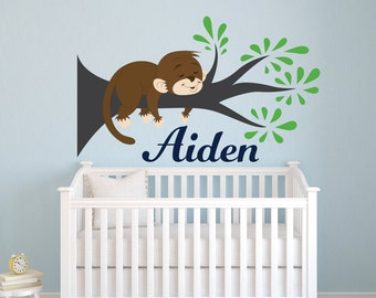 Monkey Wall Decal Etsy - Jungle themed nursery wall decals