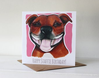 Happy Staffie Birthday! Card (Staffordshire Bull Terrier) - Fawn / Red / Pink