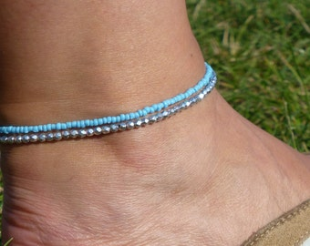 Turquoise and Silver Beaded Anklet/Ankle Bracelet, Beach Jewellery, Surf Style