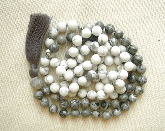 Jasper and Howlite 108 Beads Mala, 108 Hand Knotted Meditation Mala Beads, Buddhist Prayer 108 Beads Mala Necklace