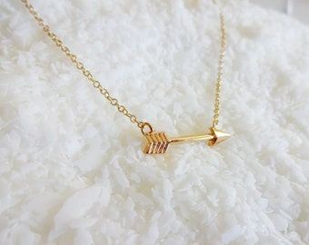 Gold Arrow Necklace - Gold Hunger Games Inspired Arrow Necklace - Cute Gold Arrow Necklace
