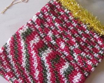 Medium Crochet Christmas Drawstring Gift Bag