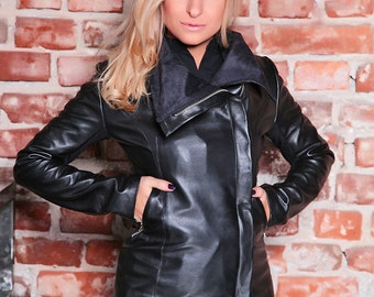 Black Leather Jacket/ Womens Jacket/ Plus Size Leather Jacket/ Leather Blazer Jacket/ Black Blazer/ Black Jacket/ Asymmetric Jacket/