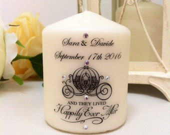 Candles personalized favors, with Swarovski crystals.