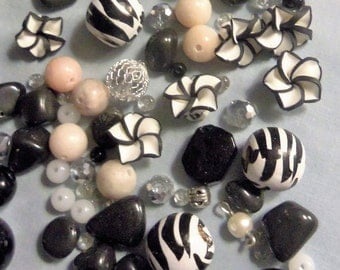 Black and White Beads, Beads, glass beads, bead lots, Mixed media, mixed beads, miscellaneous beads