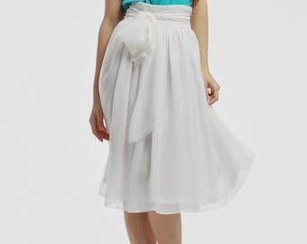 Summer chiffon skirt \white skirt summer \ midi skirt \ skirt for a party \ White chiffon skirt