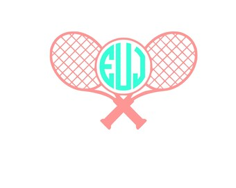 Tennis Racquet Personalized Monogram Sticker Vinyl Decal