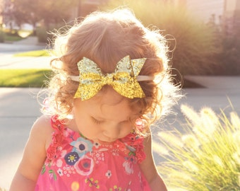 Christmas Headband, Gold Headband, Baby Girl Headband, Baby Headband, Toddler Headband, Nylon Headband, Gold Bow, Glitter Headband