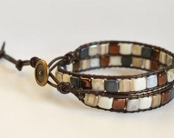 Double Wrap Bracelet Leather Czechmate Tile beads, 2 Wrap Beaded Bracelet.  Leather Wrap Bracelet