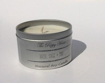 Basil, Sage, & Mint Soy Candle