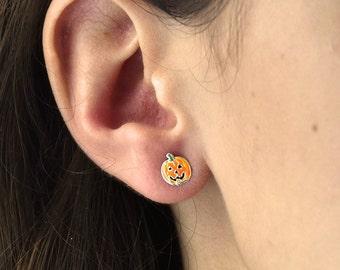 Pumpkin Halloween Sterling Silver Stud Earrings -  Halloween Earrings - Sterling Silver Earrings - Pumpkin Earrings [NJW-HW-005]