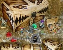 LARGE 6 eyed Mimic Wooden Chest / Trinket / Rune / Card / Tarot / Jewellery / Keepsake / Dice box / Chest Fantasy / D&D MTG dicebox