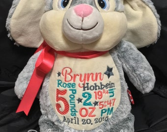 Personalized stuffed animal baby announcement birth announcement stuffed animal baby gift  photo prop monogrammed baby gift plush bunny