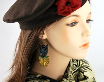 Brown Wool Beret with Organza Flower