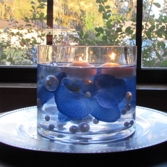 Flowers And Floating Candle Centerpieces With Led Lighting: Floating Pearls Light Blue With Blue By FloatingBeadDesigns