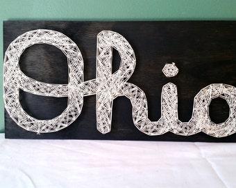 Script/Cursive Ohio String Art Sign, Made to Order